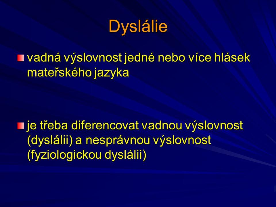 Dyslálie vadná výslovnost jedné nebo více hlásek mateřského jazyka