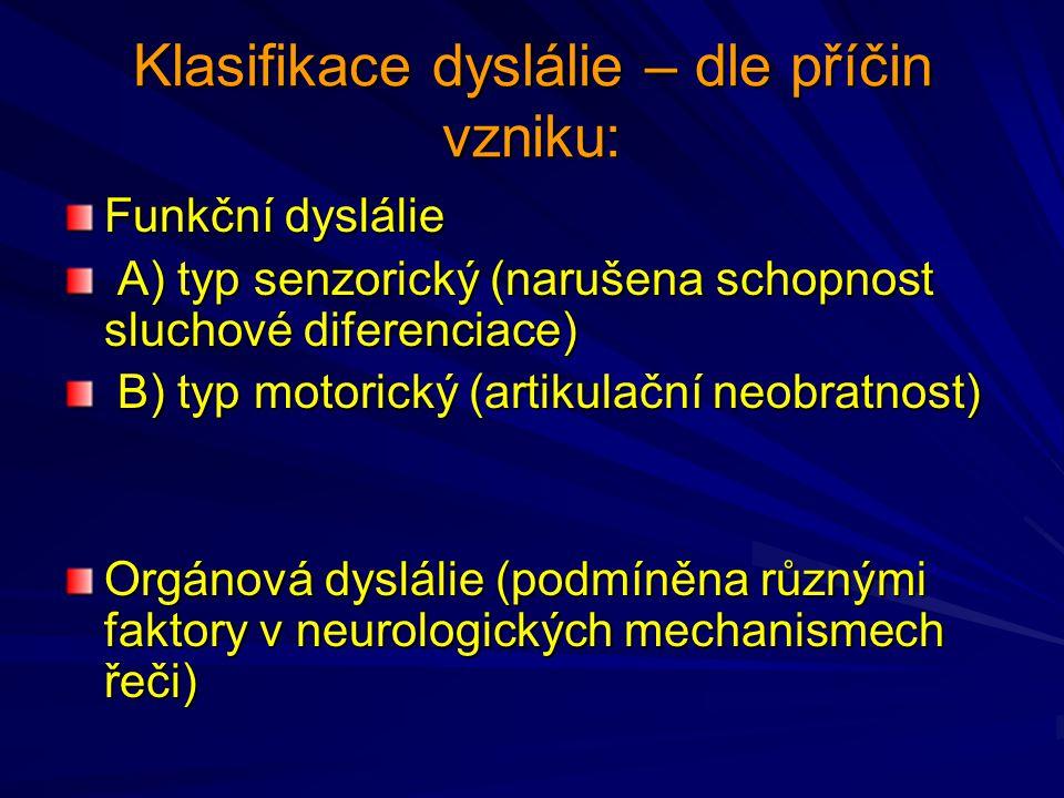 Klasifikace dyslálie – dle příčin vzniku: