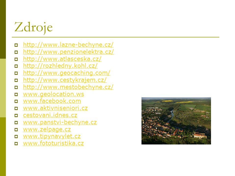 Zdroje http://www.lazne-bechyne.cz/ http://www.penzionelektra.cz/