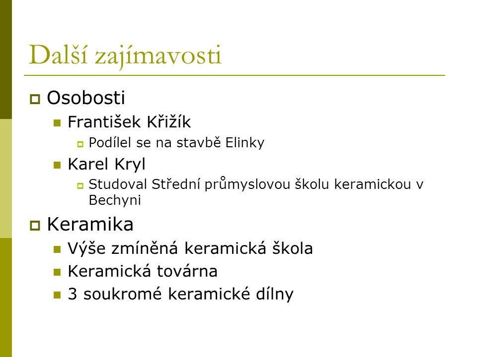Další zajímavosti Osobosti Keramika František Křižík Karel Kryl