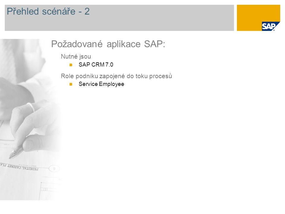 Požadované aplikace SAP: