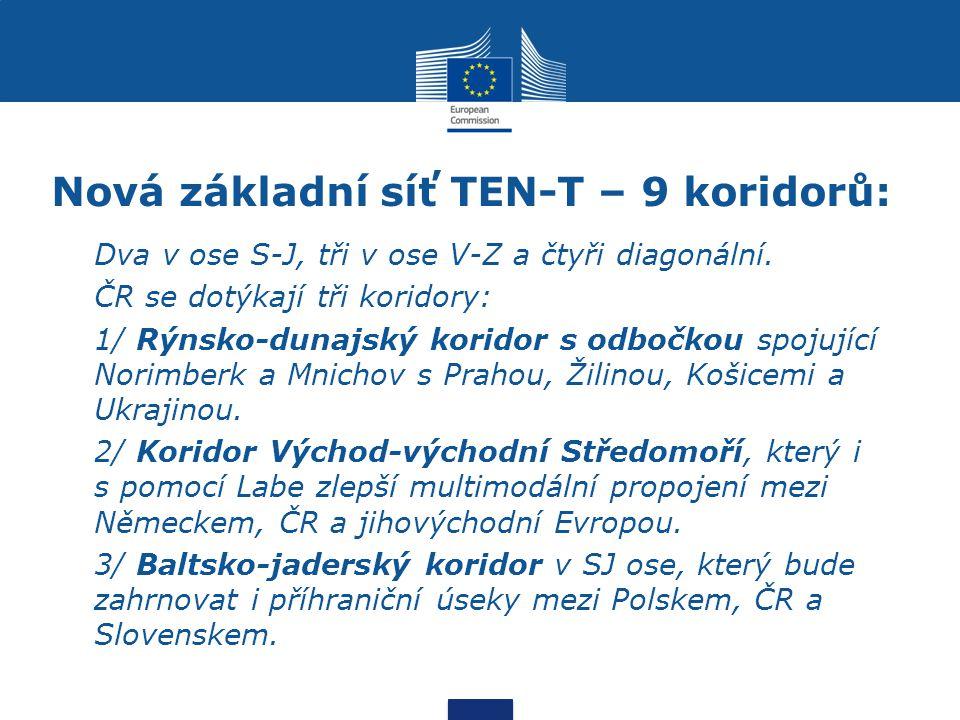 Nová základní síť TEN-T – 9 koridorů: