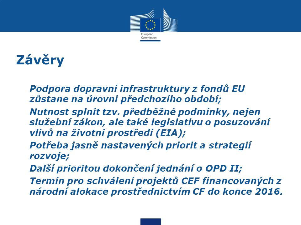 Závěry Podpora dopravní infrastruktury z fondů EU zůstane na úrovni předchozího období;
