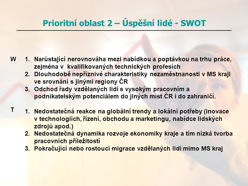 Prioritní oblast 2 – Úspěšní lidé - SWOT