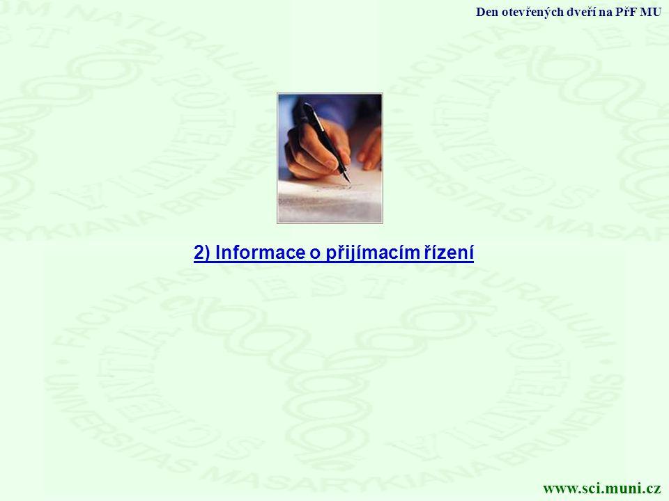 2) Informace o přijímacím řízení