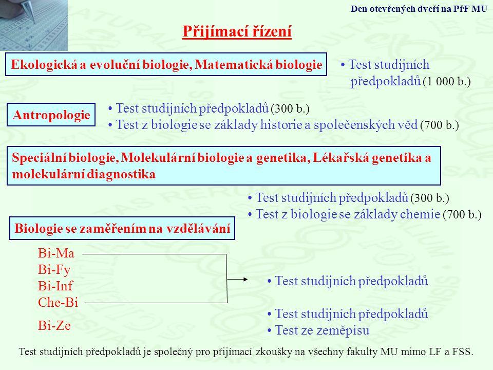 Přijímací řízení Ekologická a evoluční biologie, Matematická biologie