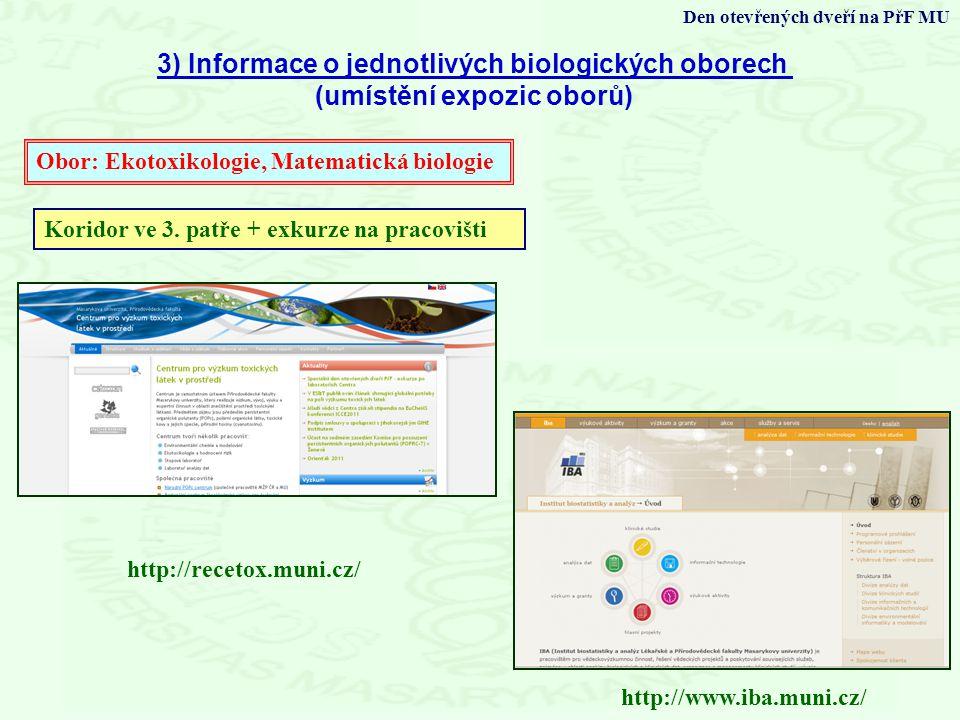 3) Informace o jednotlivých biologických oborech
