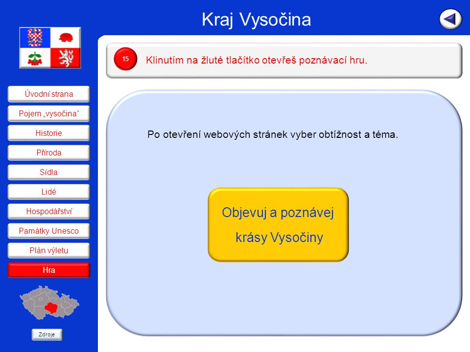 Po otevření webových stránek vyber obtížnost a téma.