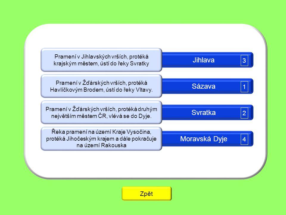 Jihlava Sázava Svratka Moravská Dyje 3 1 2 4 Zpět