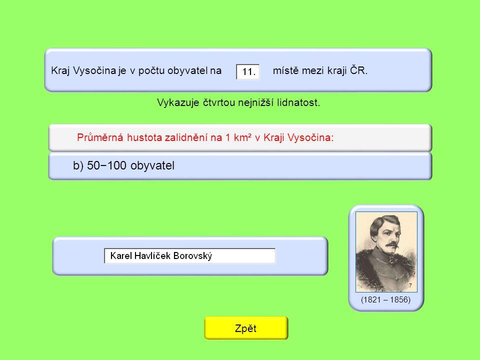 Kraj Vysočina je v počtu obyvatel na místě mezi kraji ČR.