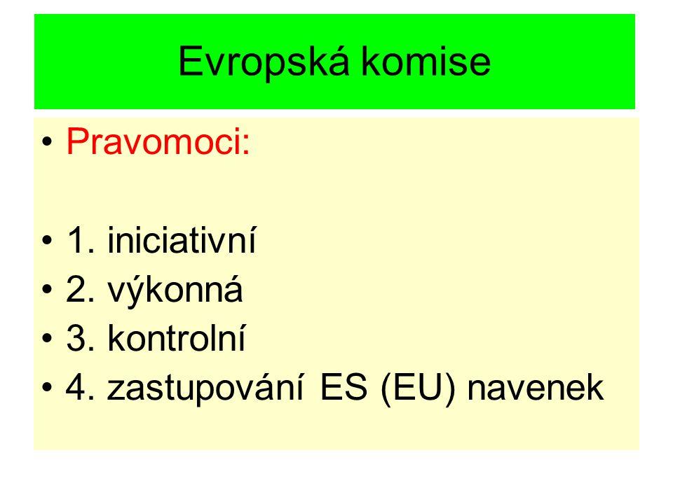 Evropská komise Pravomoci: 1. iniciativní 2. výkonná 3. kontrolní