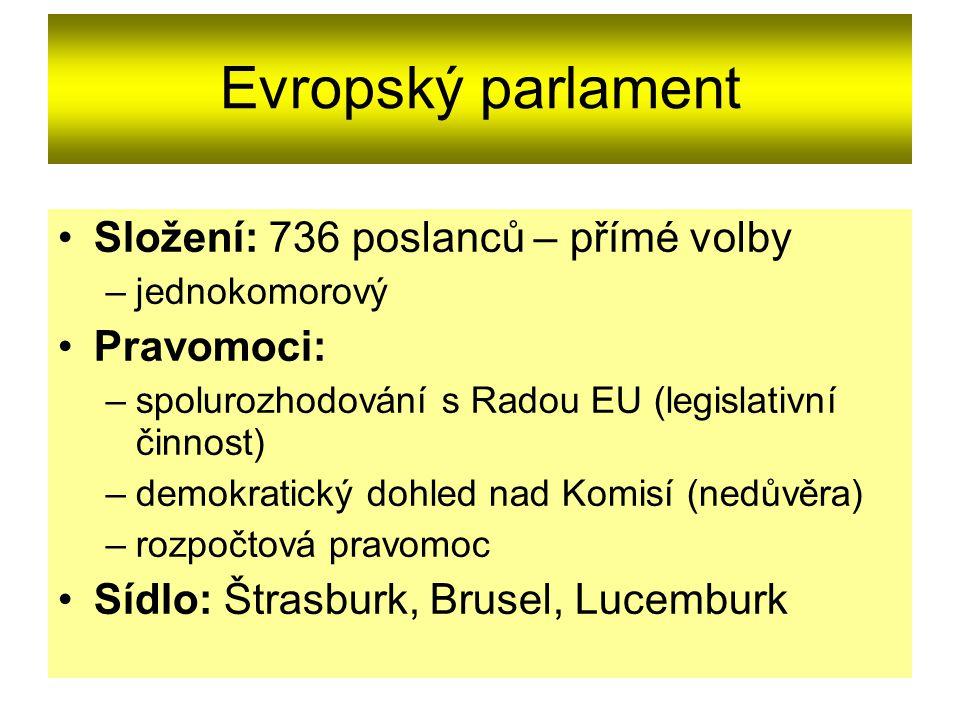 Evropský parlament Složení: 736 poslanců – přímé volby Pravomoci: