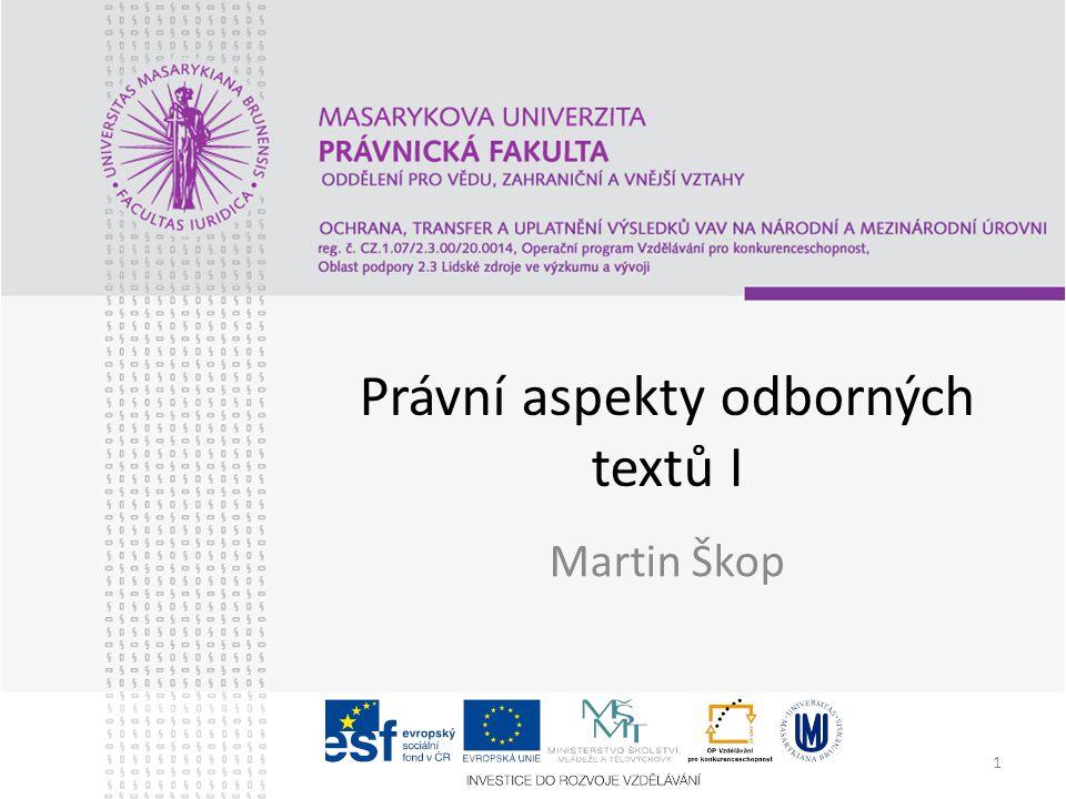 Právní aspekty odborných textů I