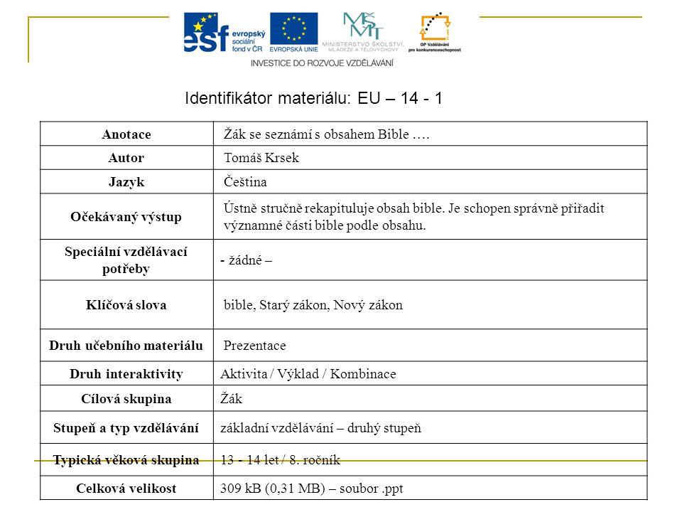 Identifikátor materiálu: EU – 14 - 1