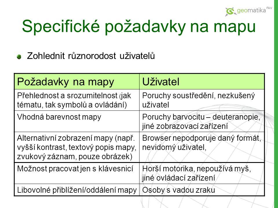 Specifické požadavky na mapu