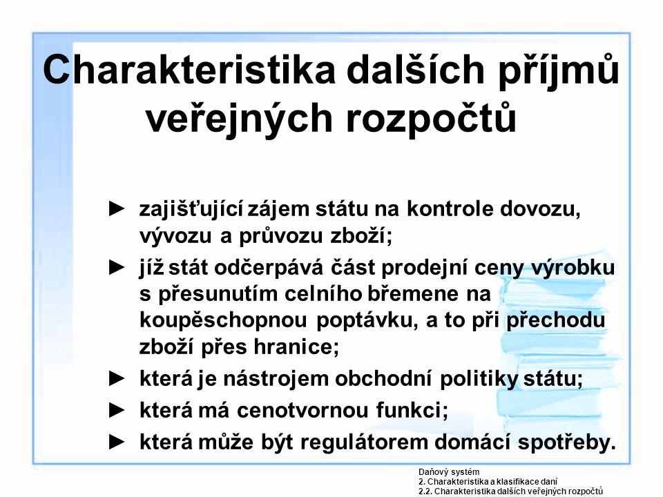 Charakteristika dalších příjmů veřejných rozpočtů