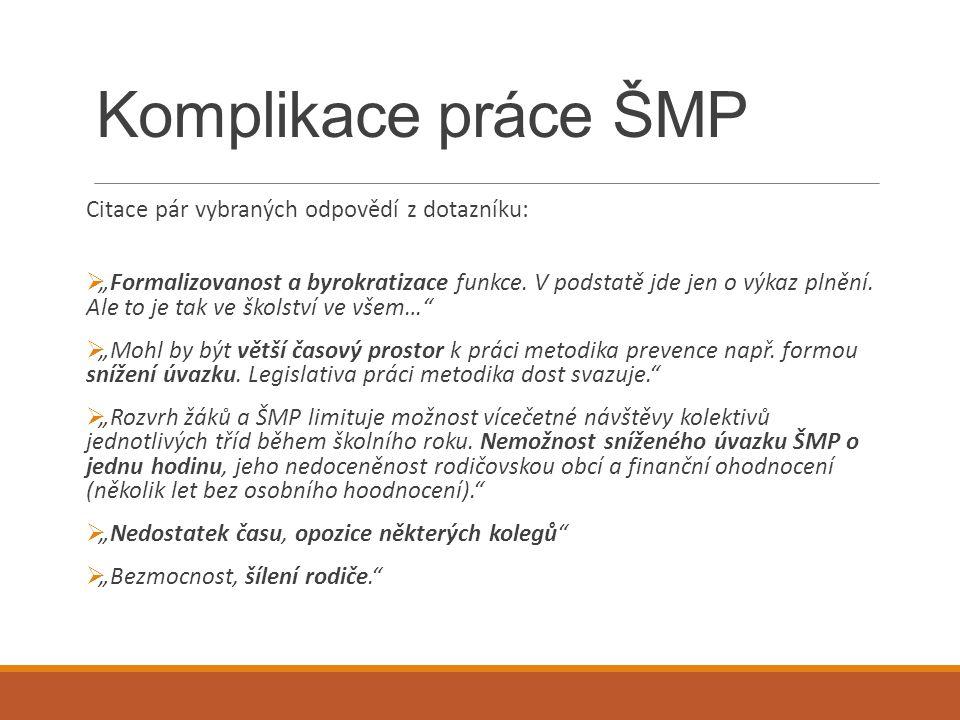 Komplikace práce ŠMP Citace pár vybraných odpovědí z dotazníku: