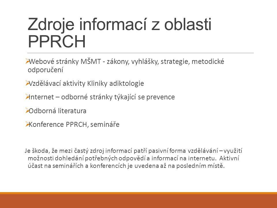 Zdroje informací z oblasti PPRCH