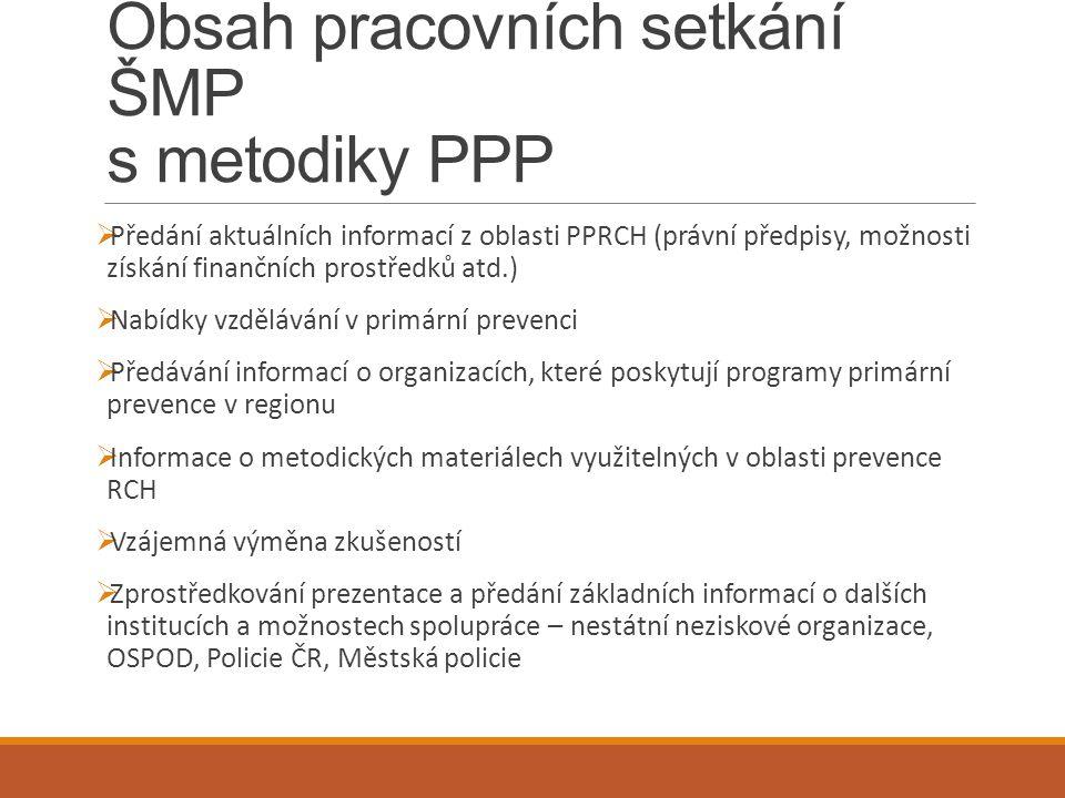 Obsah pracovních setkání ŠMP s metodiky PPP