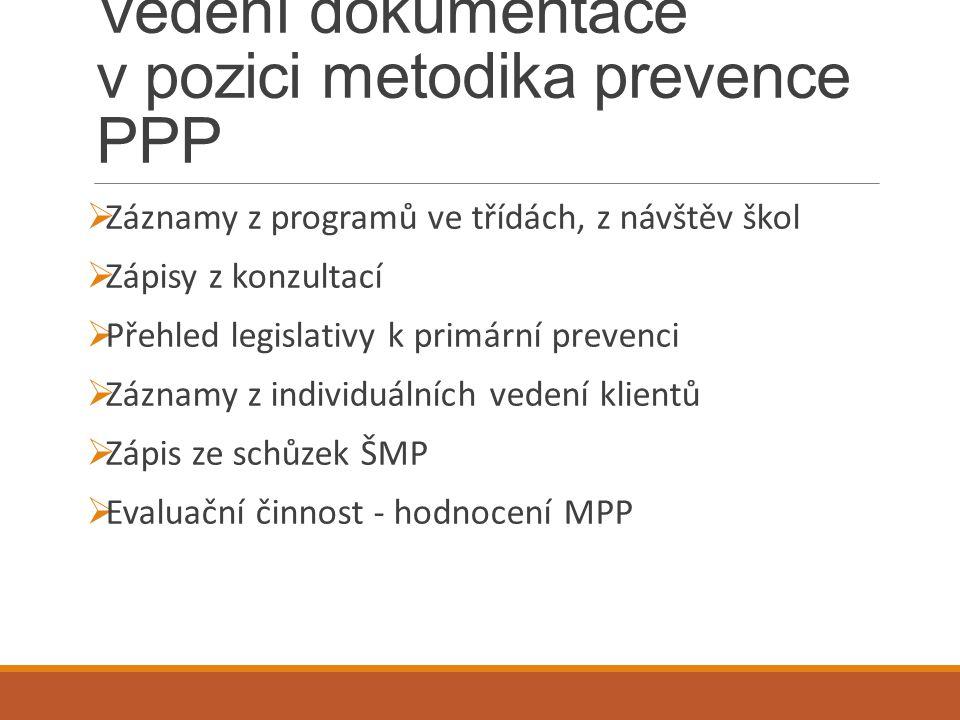 Vedení dokumentace v pozici metodika prevence PPP