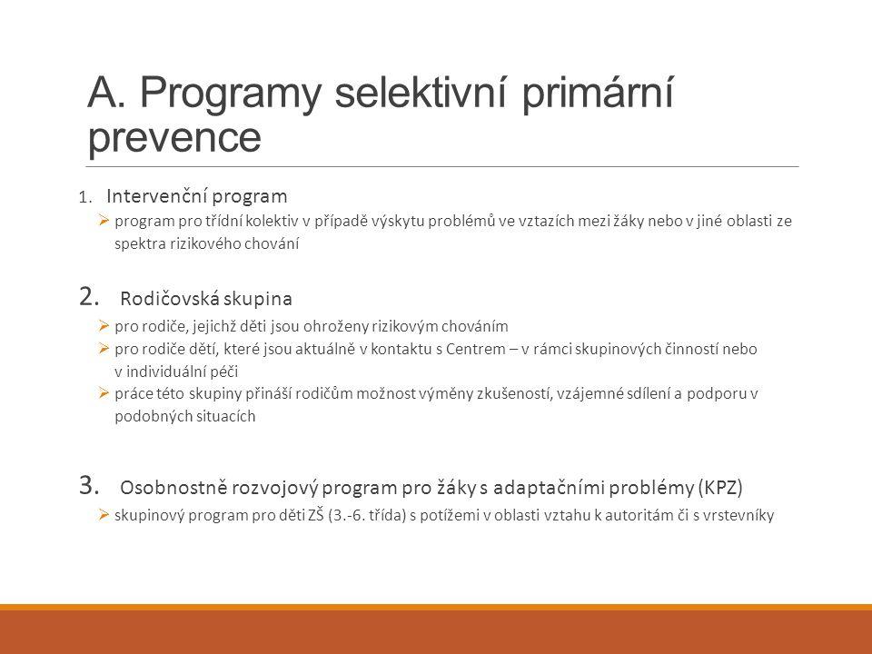 A. Programy selektivní primární prevence