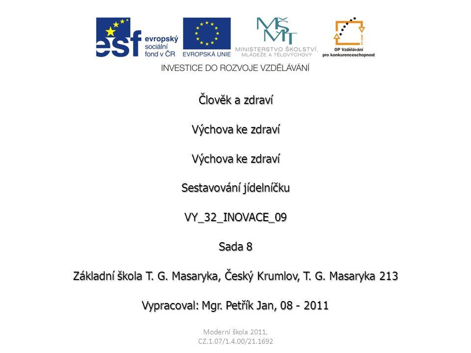 Sestavování jídelníčku VY_32_INOVACE_09 Sada 8