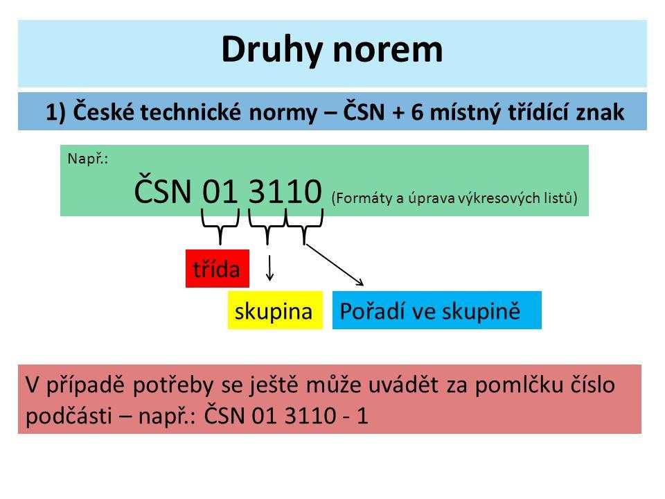 1) České technické normy – ČSN + 6 místný třídící znak