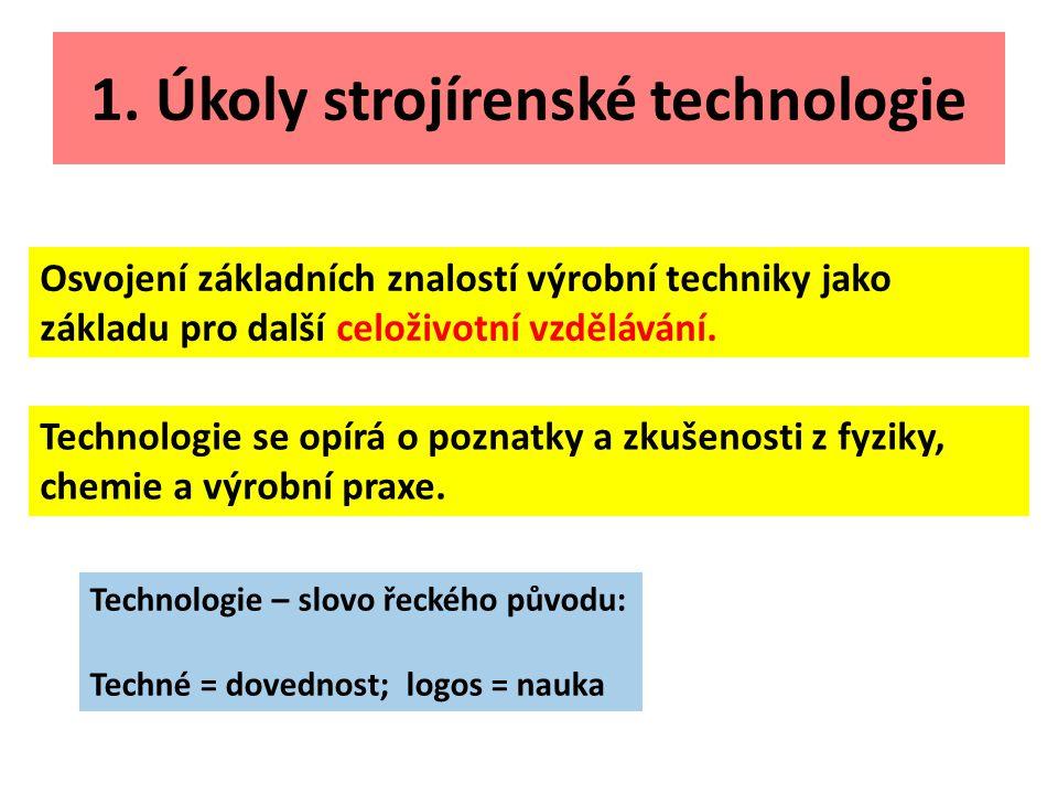 1. Úkoly strojírenské technologie