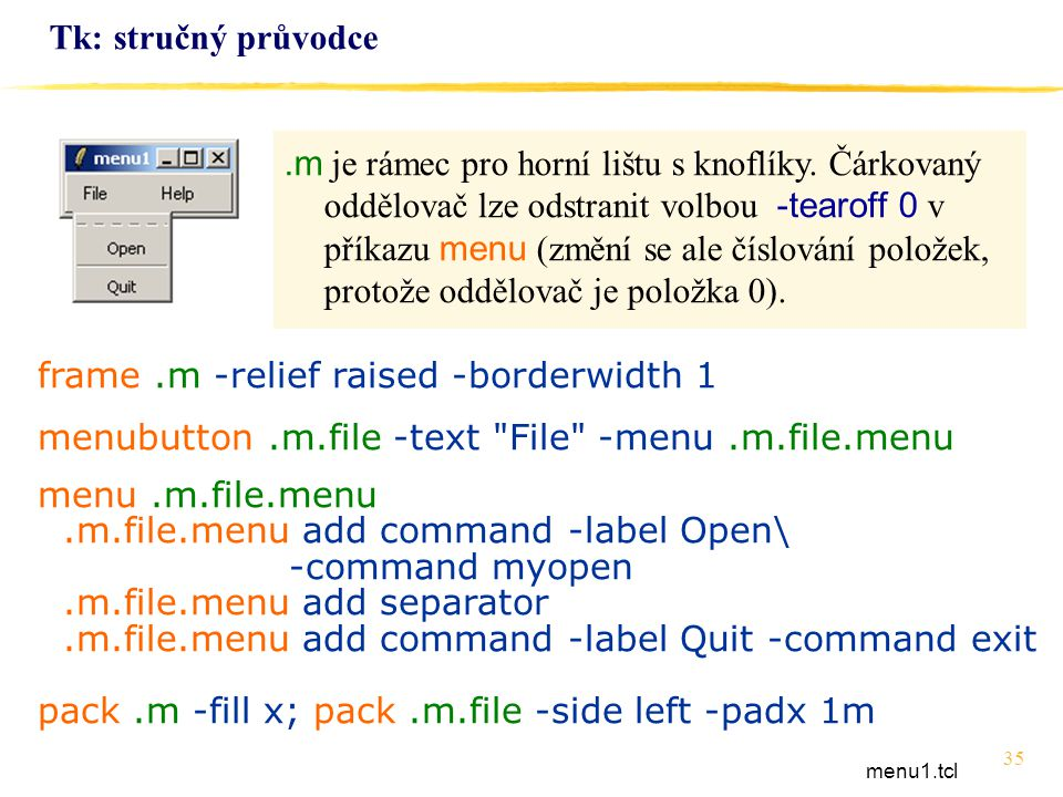 frame .m -relief raised -borderwidth 1