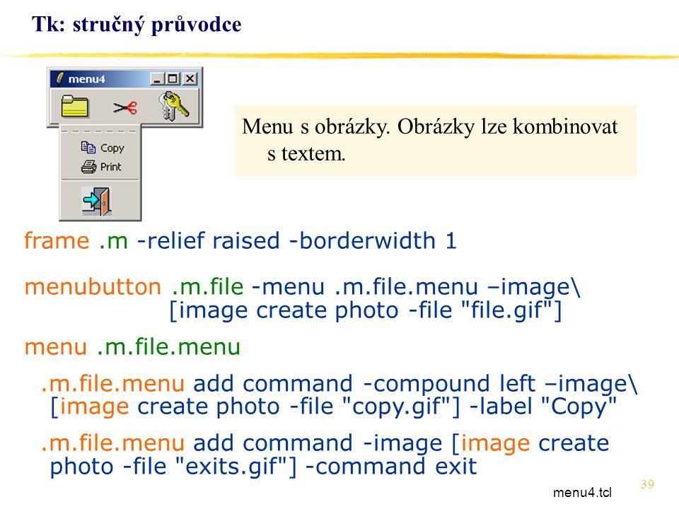 Menu s obrázky. Obrázky lze kombinovat s textem.