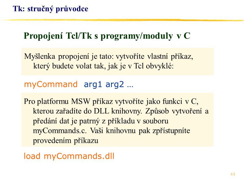 Propojení Tcl/Tk s programy/moduly v C