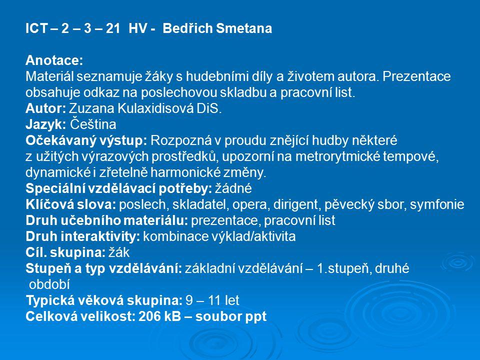 ICT – 2 – 3 – 21 HV - Bedřich Smetana