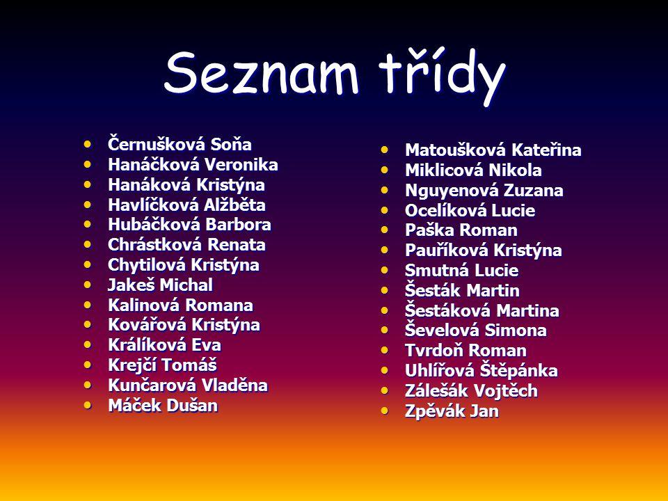 Seznam třídy Černušková Soňa Matoušková Kateřina Hanáčková Veronika