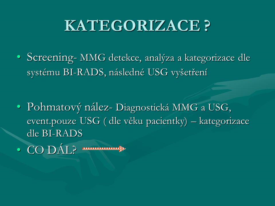 KATEGORIZACE Screening- MMG detekce, analýza a kategorizace dle systému BI-RADS, následné USG vyšetření.