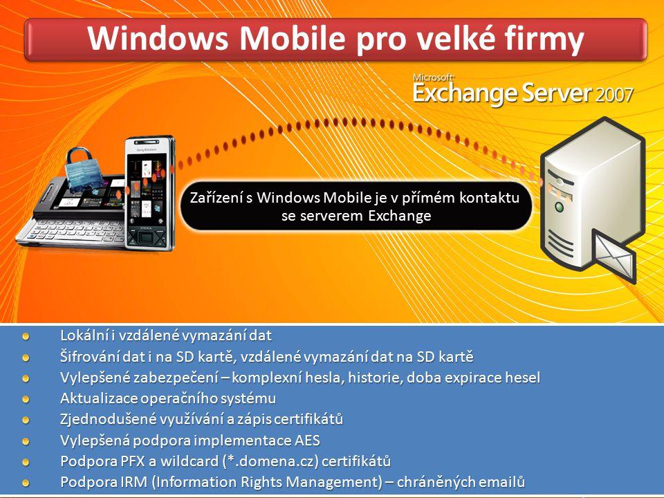 Windows Mobile pro velké firmy