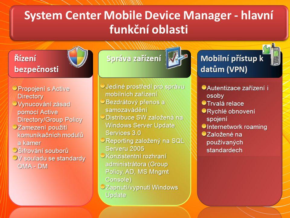 System Center Mobile Device Manager - hlavní funkční oblasti