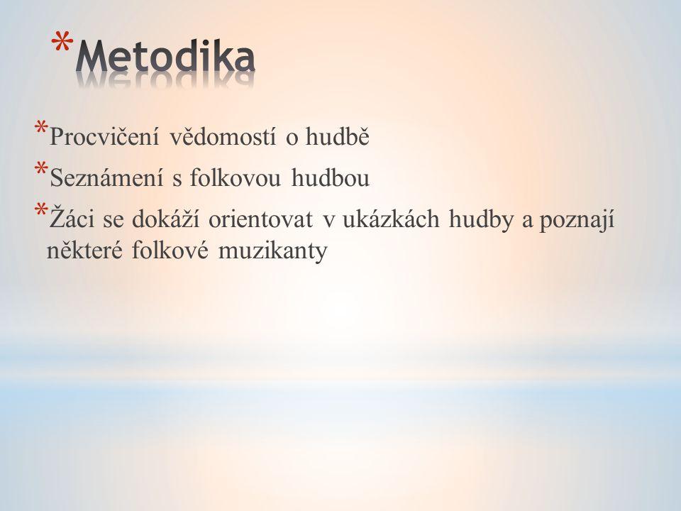 Metodika Procvičení vědomostí o hudbě Seznámení s folkovou hudbou