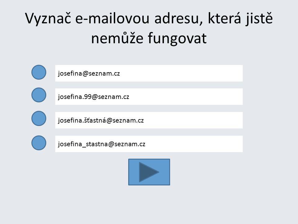 Vyznač e-mailovou adresu, která jistě nemůže fungovat