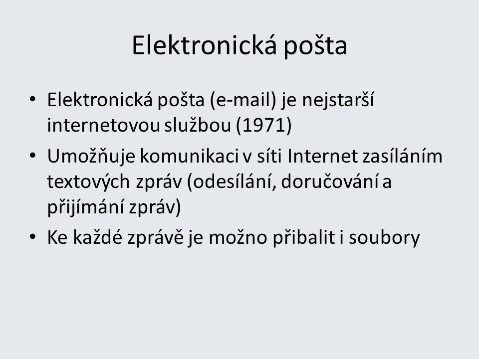 Elektronická pošta Elektronická pošta (e-mail) je nejstarší internetovou službou (1971)