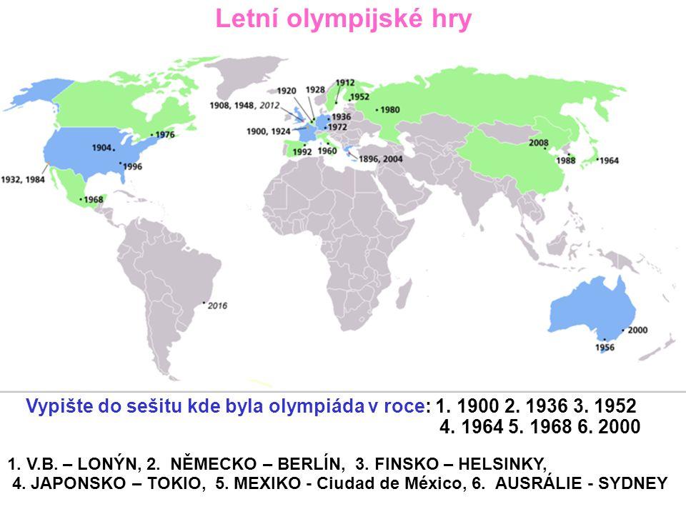 Letní olympijské hry Vypište do sešitu kde byla olympiáda v roce: 1. 1900 2. 1936 3. 1952. 4. 1964 5. 1968 6. 2000.