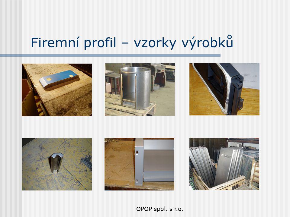 Firemní profil – vzorky výrobků