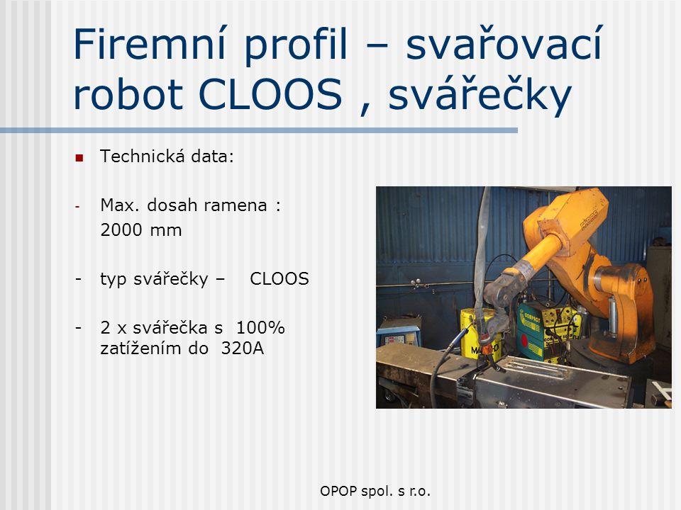 Firemní profil – svařovací robot CLOOS , svářečky