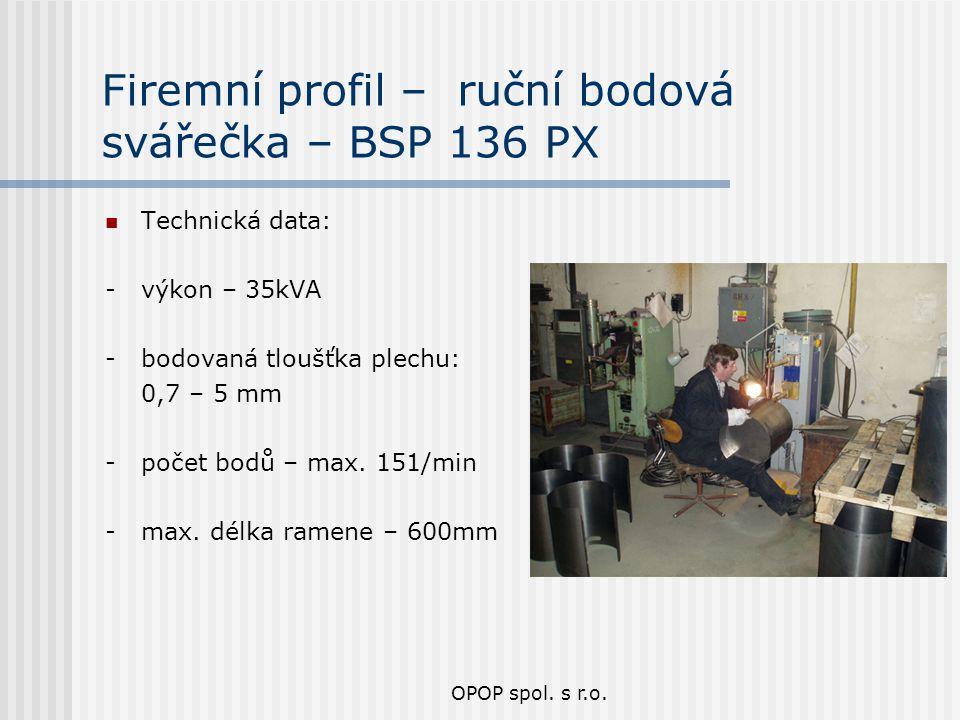 Firemní profil – ruční bodová svářečka – BSP 136 PX