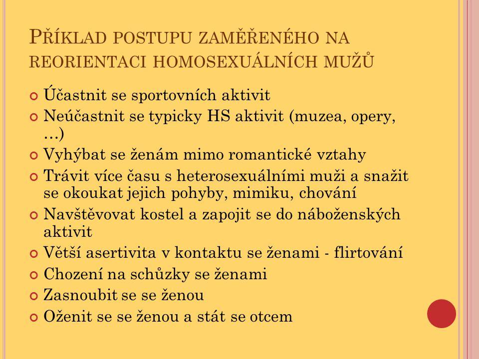 Příklad postupu zaměřeného na reorientaci homosexuálních mužů
