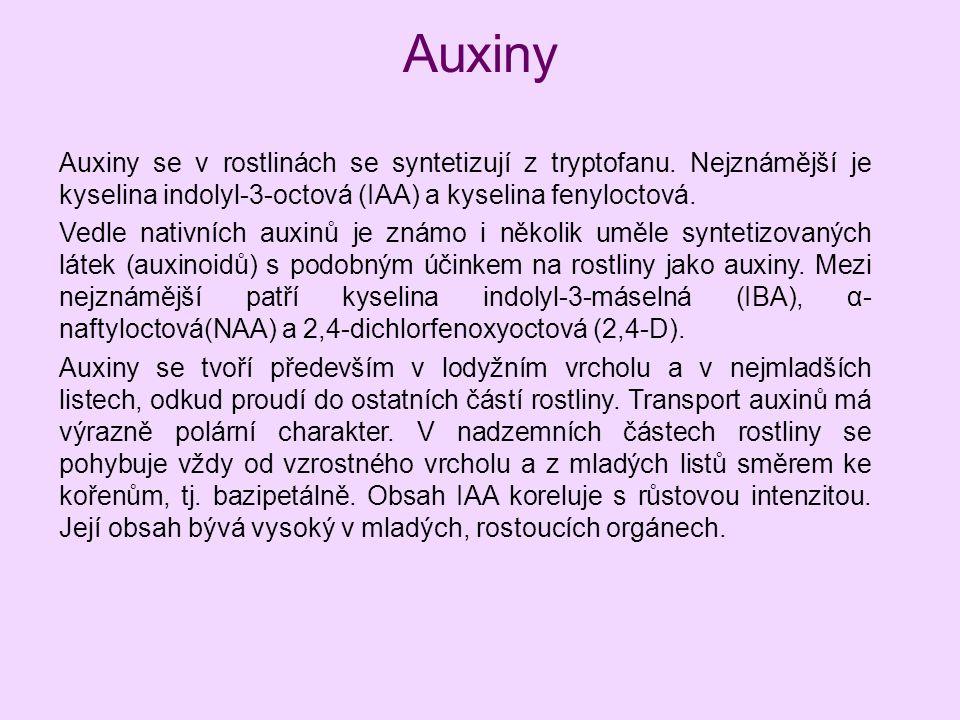 Auxiny Auxiny se v rostlinách se syntetizují z tryptofanu. Nejznámější je kyselina indolyl-3-octová (IAA) a kyselina fenyloctová.