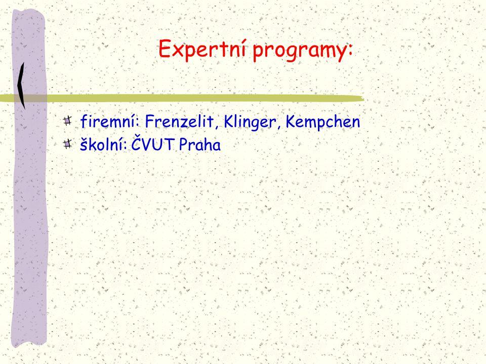 Expertní programy: firemní: Frenzelit, Klinger, Kempchen