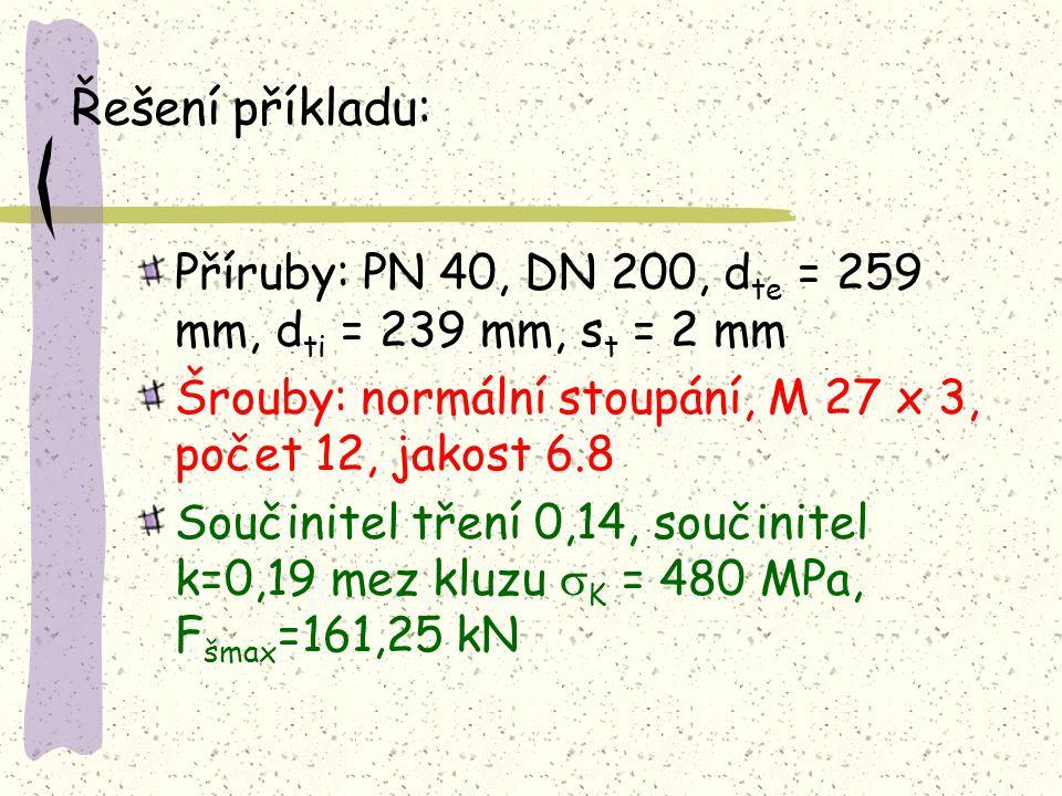 Řešení příkladu: Příruby: PN 40, DN 200, dte = 259 mm, dti = 239 mm, st = 2 mm. Šrouby: normální stoupání, M 27 x 3, počet 12, jakost 6.8.