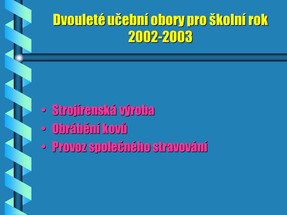 Dvouleté učební obory pro školní rok 2002-2003