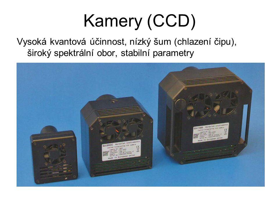 Kamery (CCD) Vysoká kvantová účinnost, nízký šum (chlazení čipu), široký spektrální obor, stabilní parametry.