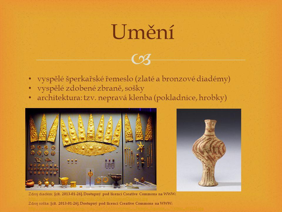 Umění vyspělé šperkařské řemeslo (zlaté a bronzové diadémy)